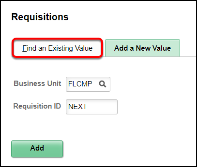Find an existing value