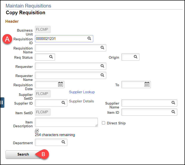 copy requisition screen