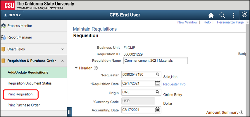requisition page with left menu