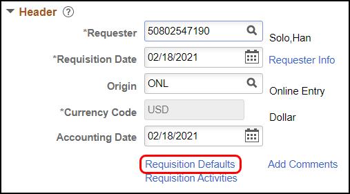 Req defaults