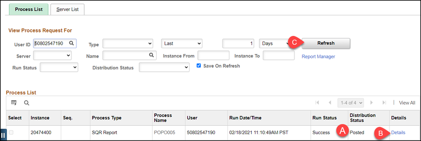 process list screen