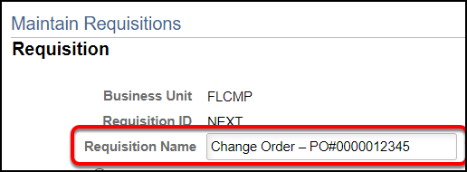 Type requisition name