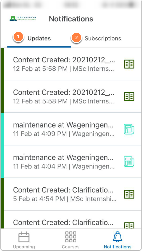 Notifications page - there are 2 tabs one for updates and the second for subscriptions