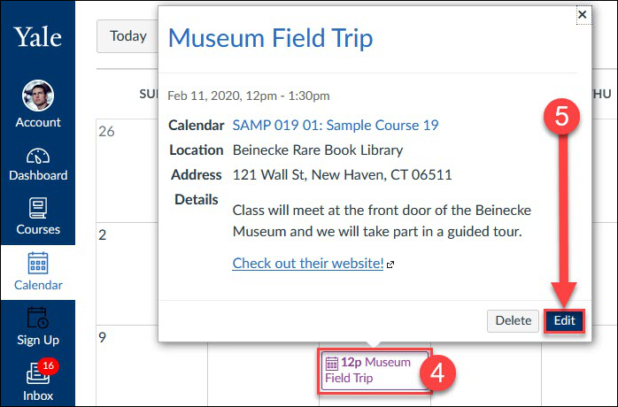 Click on the event in the Calendar and click the Edit button to access the editing pop-up.