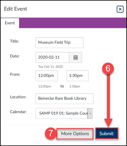 The editing pop-up allows you to adjust settings for your event.