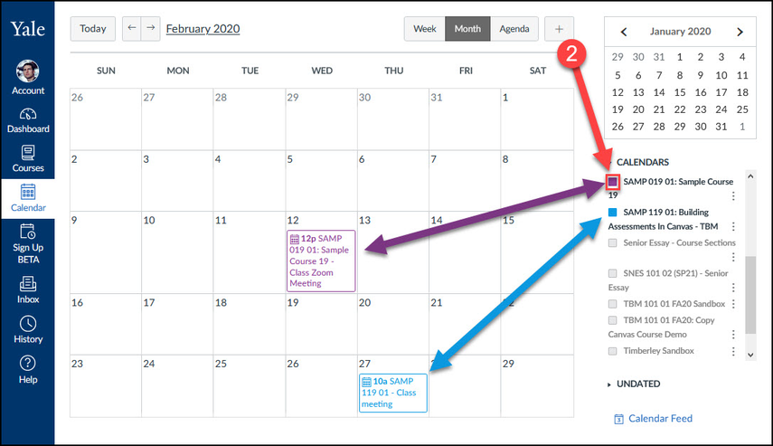 Events will color coordinate with the calendars that are enabled in the right sidebar.