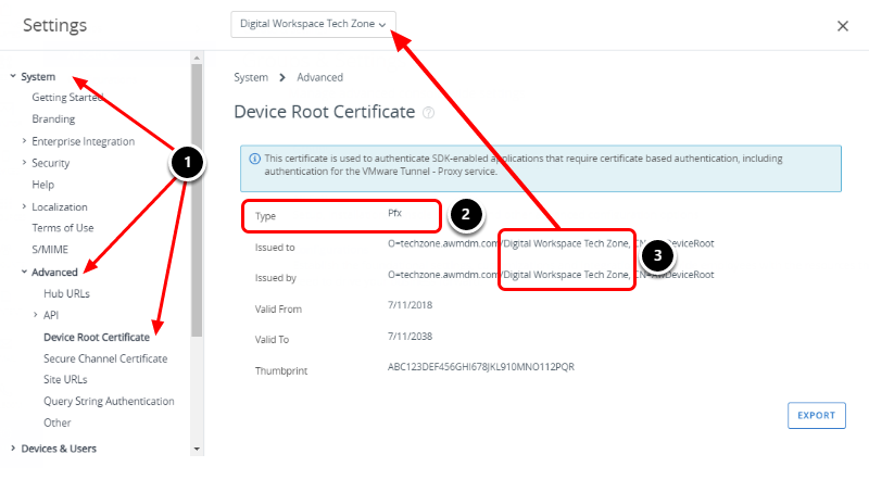 Check Device Root Certificate in Workspace ONE UEM Console