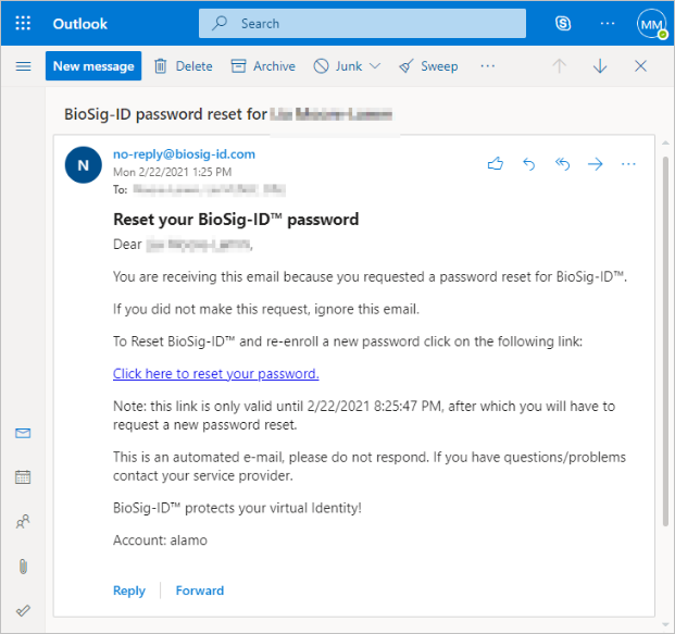 Sample email sent to user requesting a BioSig-ID password reset.
