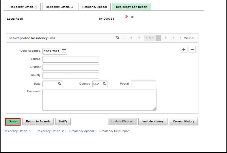 Residency Self-Report tab