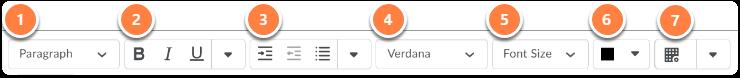 Formatting tool bar