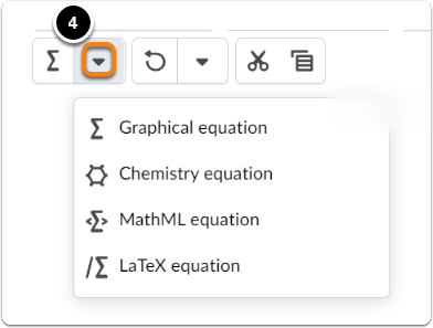 Click on downward arrow to choose equation type