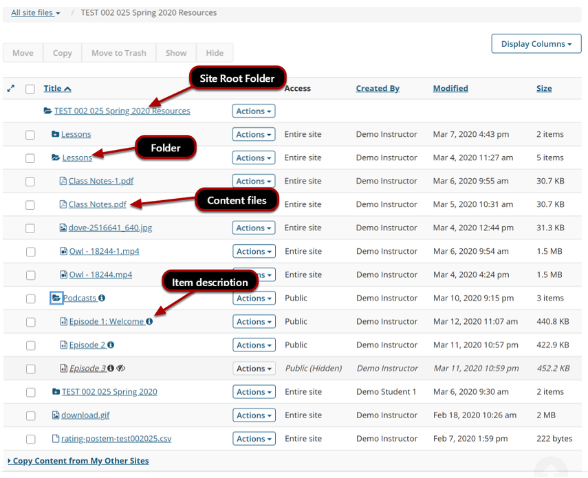 Image of the resources page showing the site root folder, normal folder, content files, and the item description.