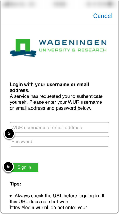 Open the Sign in Brightspace (WUR) - enter WUR account and password, then click Aanmelden/Log in