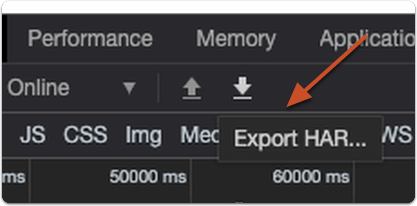 Click Export HAR in the same icon bar as the red dot