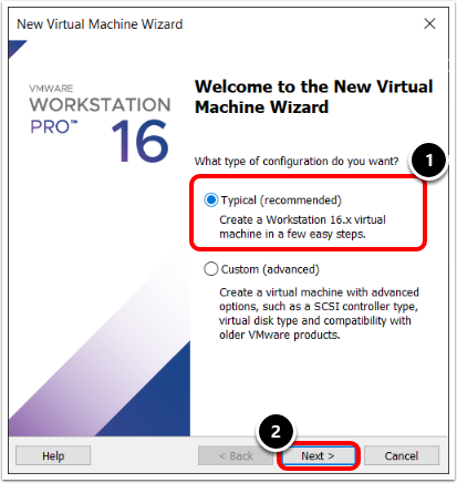 Select configuration in the New Virtual Machine Wizard in VMware Workstation.