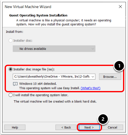Select Guest Operating System ISO in VMware Workstation.
