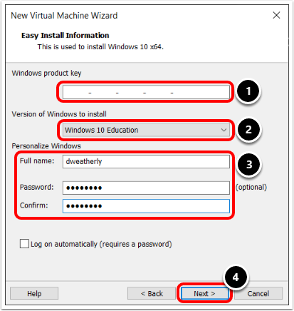 Provide Easy Install Information to create a Windows 10 virtual machine in VMware Workstation.
