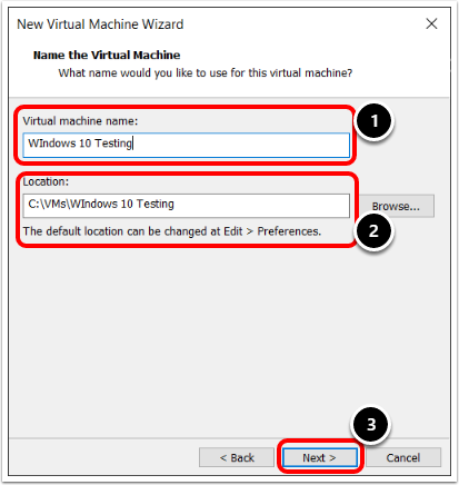 Name the Windows 10 Virtual Machine in VMware Workstation.