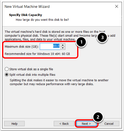 Specify Disk Capacity when creating a Windows 10 virtual machine in VMware Workstation.