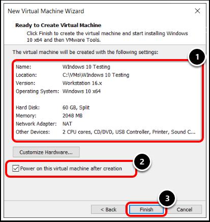 Review Windows 10 Virtual Machine Configuration in VMware Workstation.