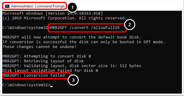 Convert Virtual Machine disk from MBR to GPT