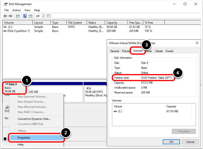 Review Windows 10 Virtual Machine Disk Properties in VMware Workstation.