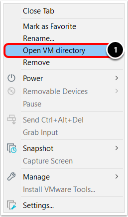 Open the Virtual Machine Directory