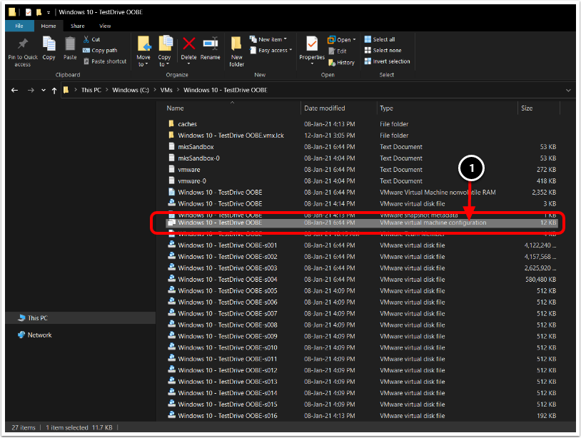 Navigate to the VMX file in Workstation