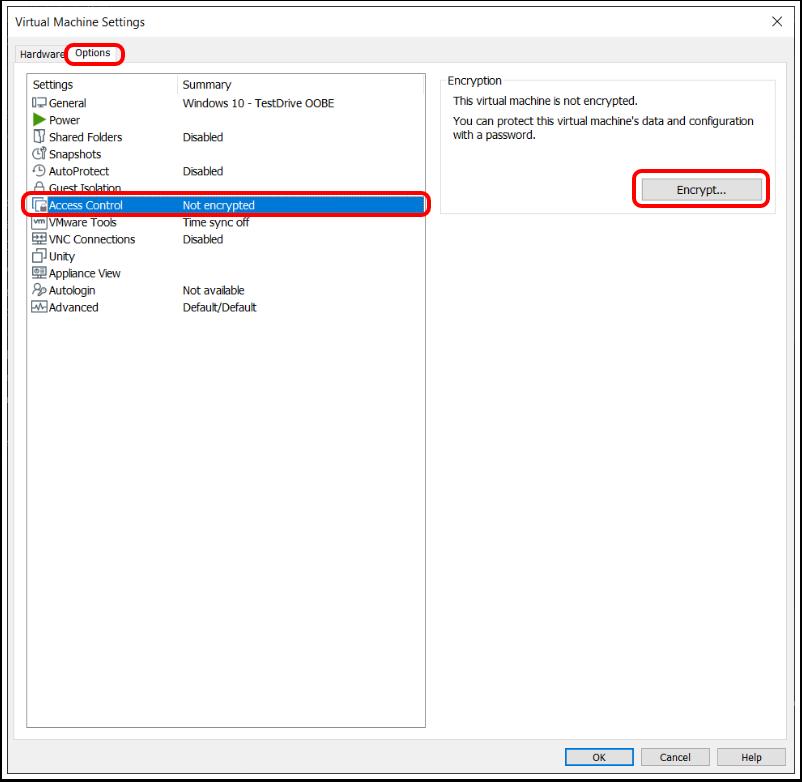Encrypt Windows 10 virtual machine in VMware Workstation.