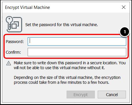 Set a password for Windows 10 virtual machine in VMware Workstation.