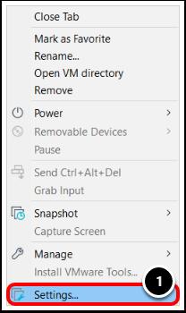 Navigate to the Virtual Machine Settings