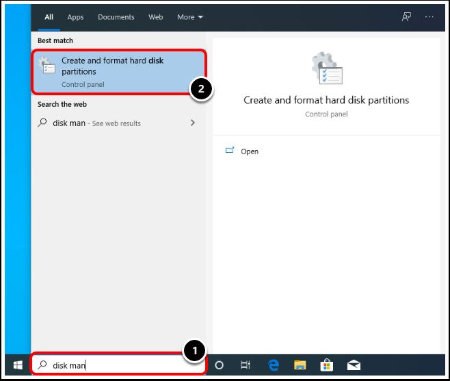 Open Disk Management  on the Windows 10 virtual machine in VMware Workstation.