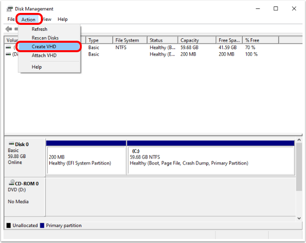 Create a VHD in the Windows 10 virtual machine.