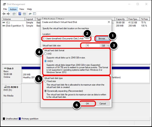 Create and Attach Virtual Hard Disk  to Windows 10 virtual machine in VMware Workstation.