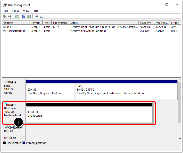 Initialize the Disk for the Windows 10 virtual machine in VMware Workstation.