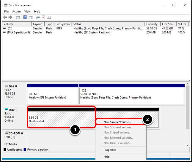 Create a Disk Volume on the Windows 10 virtual machine.