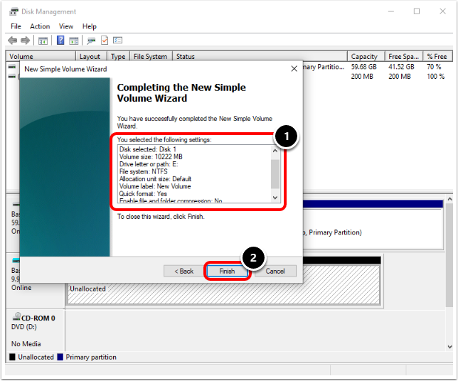 Completing the New Simple Volume Wizard in Windows 10 virtual machine.