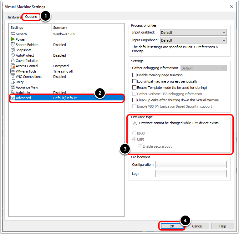 Review Windows OS Boot Up Settings in VMware Workstation.