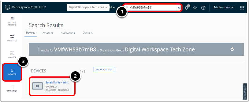 Locate the device record in Workspace ONE UEM admin console.