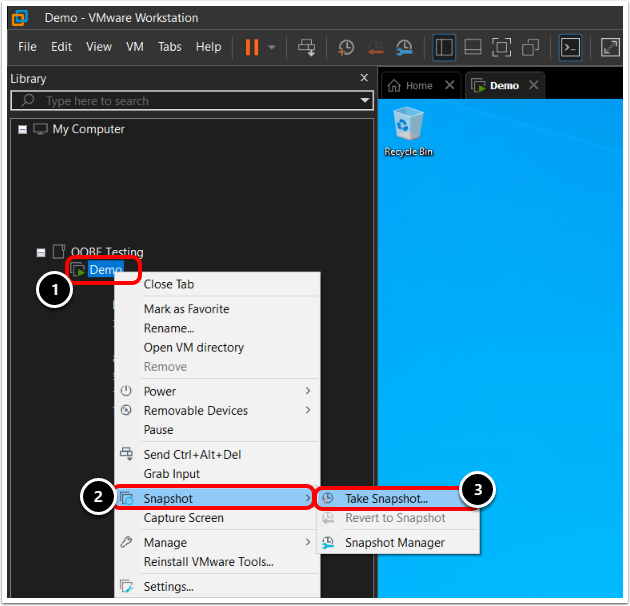 Take Snapshot of the Windows 10 Virtual Machine in VMware Workstation.