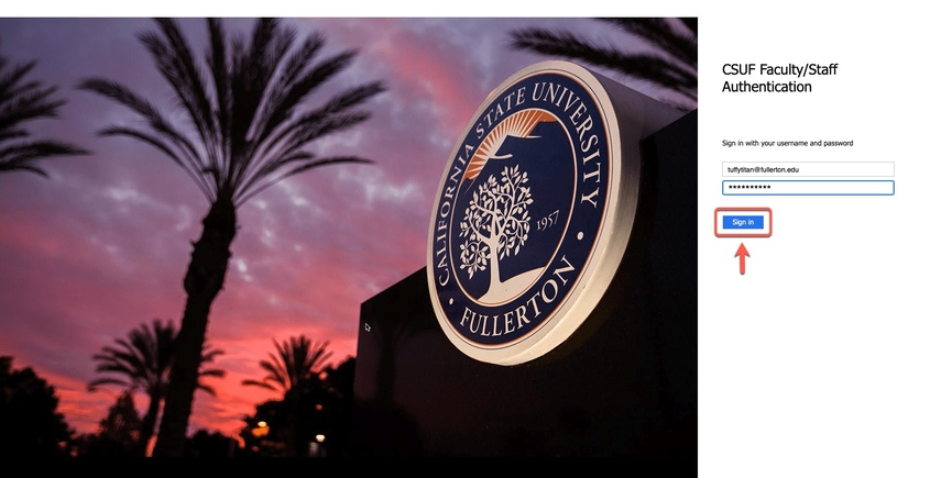 CSUF Faculty / Staff Authentication page, arrow pointing to Sign In button