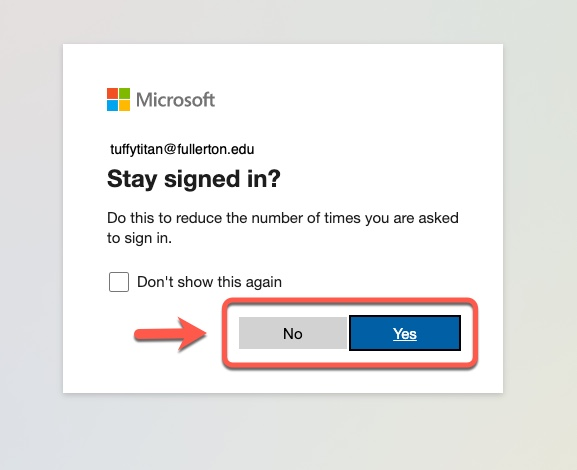 Microsoft Stay Sign in option, arrow pointing to No and Yes button