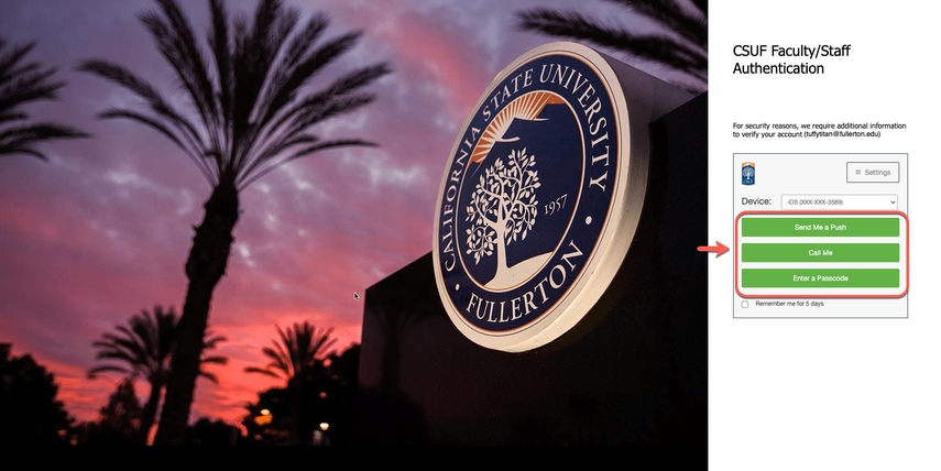 CSUF Faculty / Staff Authentication page, arrow pointing to Duo options