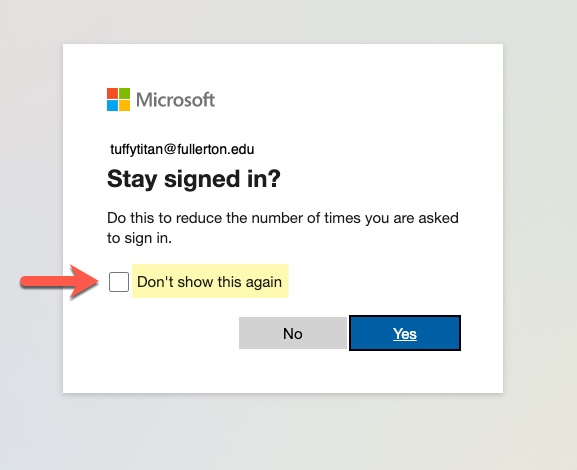Microsoft Stay Sign in option, arrow pointing to checkbox