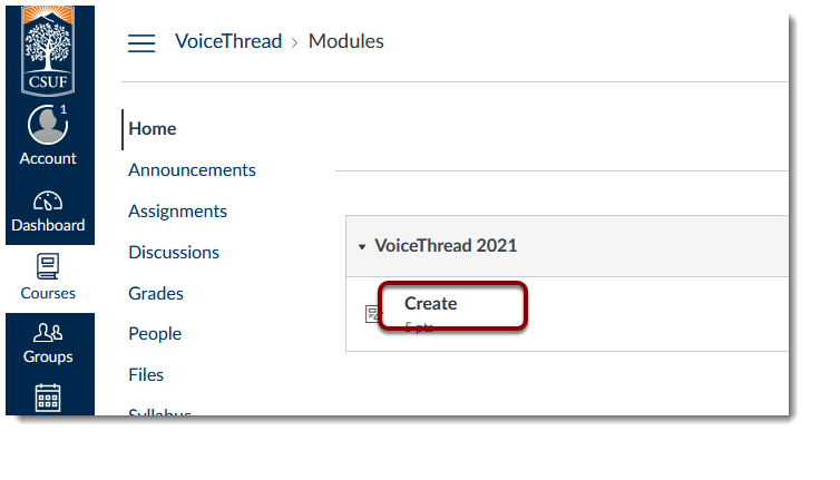 'Create' link selected