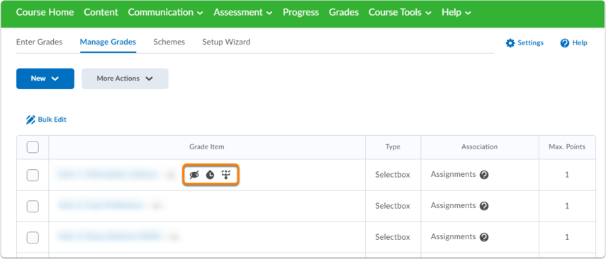 Manage Grades Homepage, grade item indications