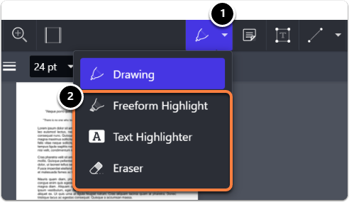 Pen tool for free-hand drawing