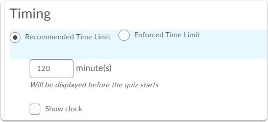 Recommended Time Limit options