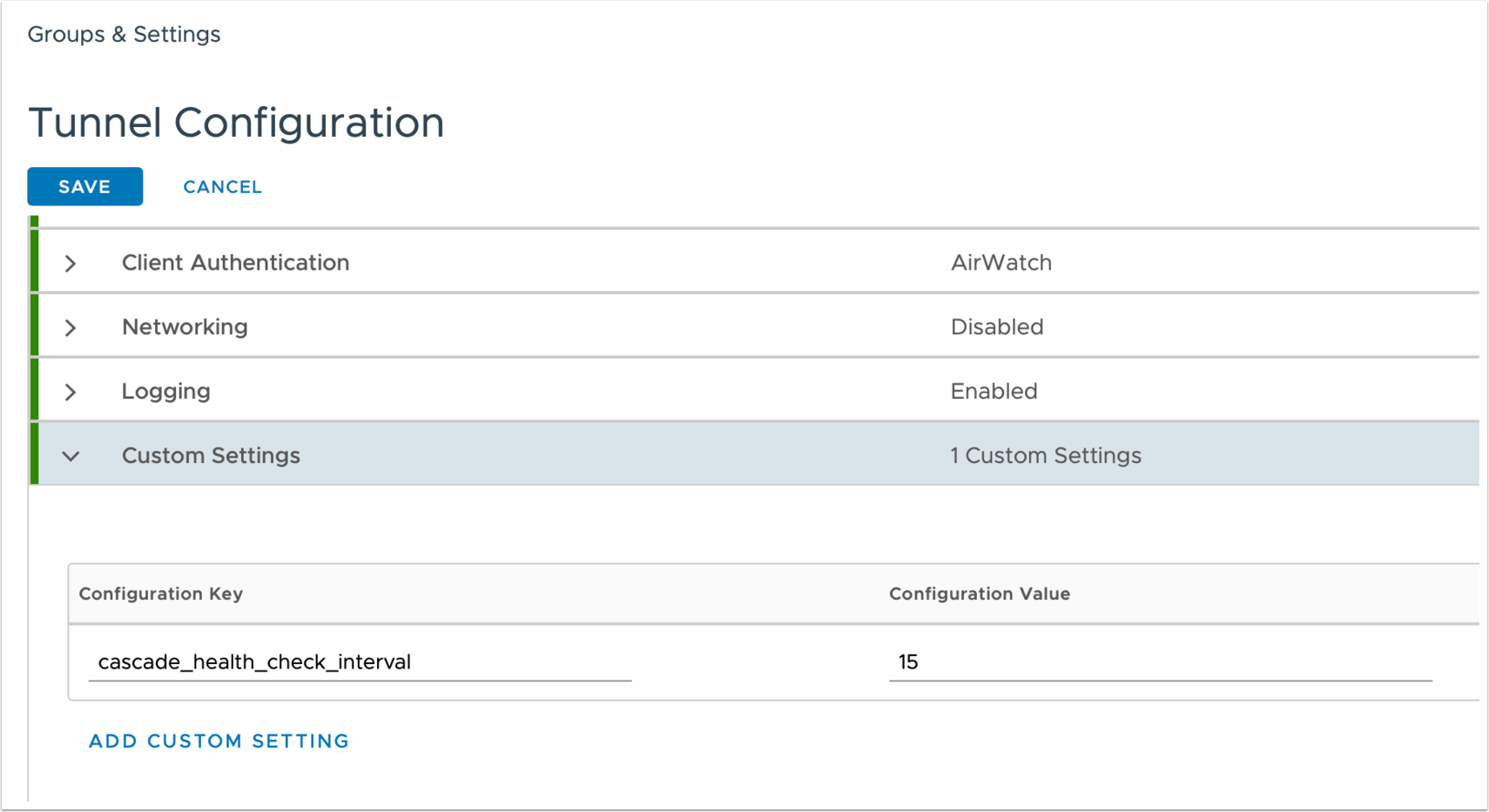 Custom Setting configuration for Tunnel in Workspace ONE UEM Console