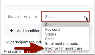 Search conditions detail